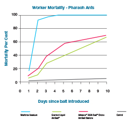 Pharaoh Ant, worker mortality graph